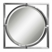 Ugar Modern Square Frame Round Mirror with Brushed Nickel FInish