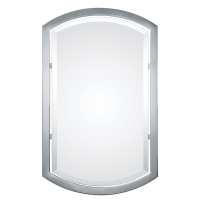 Ulema Modern Mirror with Curved Top and Bottom Chrome Frame