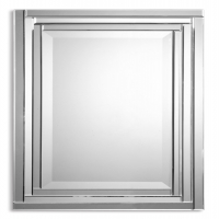 """ULL Mirror is frameless and is constructed of stepped bevel mirrors with polished edges for a smooth clean finish. The Center mirror has a generous 1.25"""" bevel. This item can be hun horizontal or vertical."""