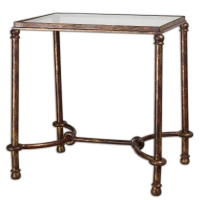 Forged Metal Side Table in Rustic Bronze Finish with Clear Tempered Glass Top.  Great sturdy side tables.