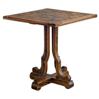 Mahogany Side Table with Honey Finish Featuring Parquet top.  The Table has a Distressed honey finish.