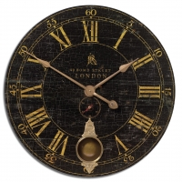 Laminated Clock Face, Cast Brass details and Internal Pendulum.  Requires 2-AA Batteries