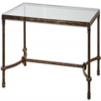 Forged Metal Table in Rustic Bronze Finish with Tempered Glass Top. Handsome sturdy table.