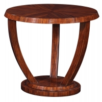 Echo Side Table  Features Clean Modern Lines reminiscent of Deco Styling.  The Hardwood Frame is Veneered in Zebrano Wood.