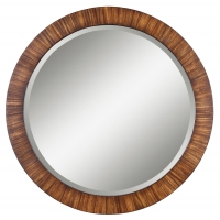 "Frame is made of lightly, antiqued Zebrano veneer.  The Mirror has a generous 1.25"" bevel."