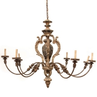 Eight Arm Carved Wood, Gesso and Iron Chandelier Holds 8 B Lamps- 45 Watt Max Each (Not Included). U.L. Listed