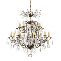 Walworth Large Chandelier- Classic Crystal Chandelier over Old Gold/Iron Frame 12(b) lamps (not Included)- 15w ea UL Listed