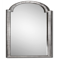 Features Antiqued, Beveled, Side Mirrored Frame.  Burnished silver details.  Large Scale