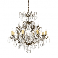 Walworth Medium Chandelier- Classic Crystal Chandelier over Old Gold/Iron Frame 8 (B) lamps (not included)- 25w ea UL Listed