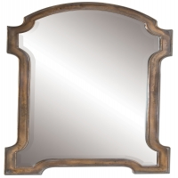 "Wooden Frame is Finished in Oxidized Copper with Gray Glaze.  The Mirror has a generous 1.25"" Bevel."