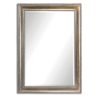 """Avelina Mirror has a sloped profile frame with a Ribbed inner and outer trim finished in an oxidized, plated silver that is accented with a light gray glaze. The Mirror has a 1.25"""" bevel. This Mirro can be hung vertical or horzontal."""