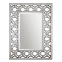 Moroccan Moticn Pierced Fret Frame Beveled Mirror in Silver Wash Finish.  May be hung horizontal or vertical