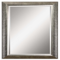 Umberto Mirror Featured a Silver Finish Frame with Subtle Stenciling. This is a mirror set. You will recieve 2 mirrors at this price.