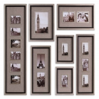 Umay S Frame Collection features lightly antiqued silver leaf frames with matte black liners and linen mats. The Set come with a Wall Hanging Template for easy installation.