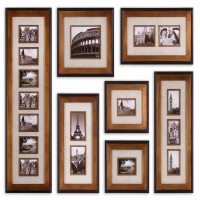 UMAY Photo Frame Collection is a set of 7 Black and Gold Frames with Precut Ivory Mats. This set holds up to 17 images in 7 frames. The Set comes with a hanging template for easy installation.