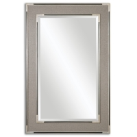 Frame Features a Patterned, Gray/Tan Wrap Finished with Lightly Antiqued Silver Accents and Satin Black Details