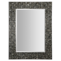Beveled Mirror with Mosaic Glass Tiled Frame. May be hung vertical or horizontal.