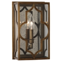 Rach Box Sconce with Frette Design Featured in Brass Fixture Holds 1 B10.5 Bulb, 60 Watt max (not included). U.L. Listed