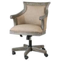 """Shabby Chic Style Executive Chair with Dark Weathered Hardwood Frame and Beige Linen Upholstery. Base Features Rolling Casters, Swivel, and Adjustable Height. Seat Height is Adjustable between 20.5"""" to 24.5"""""""
