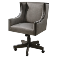 "Modern, Sophisticated, Executive Chair with Espresso Finished Wooden Frame and Plush Grey Upholstery.  Caster Base has Adjustable Height, Swivel and Locking Tilt Functions.  Seat Height will Adjust from 20.5"" to 25.5"""