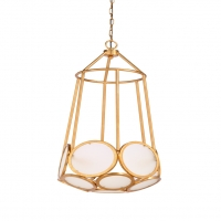 Wafai Pedant Light - Antique Gold over Iron Frame with Frosted Glass Diffusers 3 (B) base Bulbs (not included)- 40w max ea UL Listed
