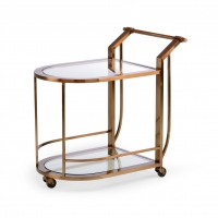Waldo Bar Cart- Dark Tarnish Gold FInish over Metal Frame with Glass Shelves