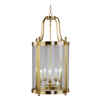 Rafe Large Transitional Lantern Shown in Soft Brass Fixture Holds 5 B lamps, 60w max ea (Not Included) U.L. Listed