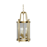 Rafe Small Transitional Lantern Featured in Soft Brass Fixture Holds 3 B Lmaps, 60w max (Not Included) U.L. Listed