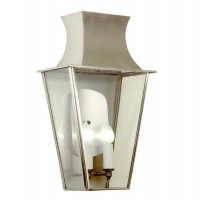 Francine Medium Exterior Wall Lantern in Satin Stainless Finish Holds 1 A Lamp- 60 Watt Max (Not Included) Each Lantern is Made by Hand in the USA. Custom Varations are Welcome.