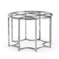 Caldwell Silver Side Table- Antique Silver Finish over Iron Frame with Glass Top