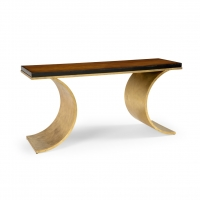 Cadence Console With Gold FInished Iron Base and Wood Top