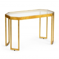 Cairbre Cocktail Table- Gold FInish over Iron Frame with Inset Glass Top