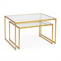 Caitlyn Cocktail Table Set- Gold over Iron Frames with Inset Glass Tops (Nesting Style Tables)