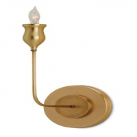 "Calandra- Wall Light, Single Elegant Stem in Antique Brass 1 Bulb- ""B"" Base, 60W Max"