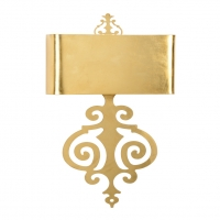 Wanda Wall Sconce- Antique Gold Leaf over Iron 2 (A) base bulbs (not included)- 40w max ea UL Listed