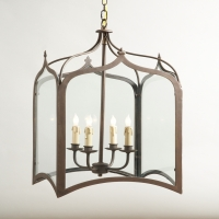 Cagney Lantern- Iron Gothic Style Lantern Holds 4 B Lamps- 45 Watt Max Each (Not Included) U.L. Listed