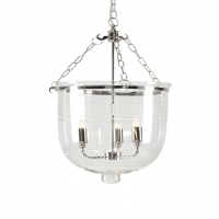 Cala Lantern- Classic Bell Jar with Greek Key Etchings on Dome. Polished Nickel Hardware Holds 3 B Lamps- 45 Watt Max Each (Not Included) U.L. Listed