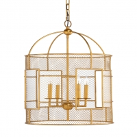 Cady Lantern- Gold FInished Iron Frame with Gilded Mesh Diffusers.   4 (B) Base Lamps (not icluded)- 60w max ea bulb UL Listed