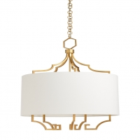 Caerwyn- Chandelier/Pendant light, Linen barrel Shade over Antique Gold Leaf clad Iron Frame. Holds 5 (B) Bulbs- 100w max ea bulb UL Listed