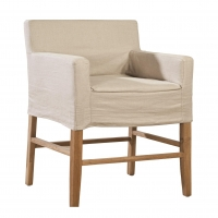 Fairly- Bar Stool with Linen Slipcover.  Solid Oak Frame