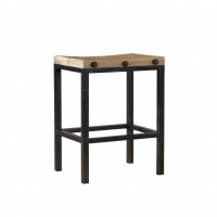 Falcon- Bar Stool.  Iron Base with Reclaimed Solid Elm Seat
