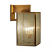 Naiser 28 Exterior Wall Light is Avail as Shown in Raw Brass or in several other Brass finishes. (4) 60W B-Lamps are Required but not included. This light is NOT avail in GAS. Clear, Seedy, Forsted and Corduroy Glass options are avail. Naiser is Handmade to order in the USA. Please allow 8-12 weeks for delivery.   *Call or Email our Studio for Customization and pricing.