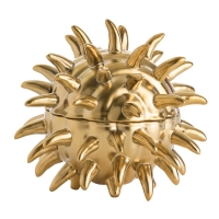 Matte Gold Porcelain Container with a Sea Urchin Appearance