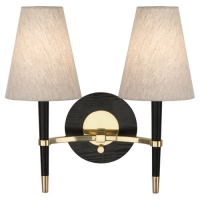 Rachel Double Arm Wall Sconce with Ebonized Wood Accents and Linen Shades Featured in Brass Fixture Holds 2 B10.5 Bulbs, 60 Watt Ea (Not Included). U.L. Listed