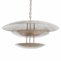 "Adolfo Ceiling Light- Silver Leaf Finished Metal Plates uplit by 8 bulbs. 8 Bulbs- ""B"" Base, 25W ea"