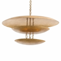 "Adolfo Ceiling Light- Gold Leaf Finished Metal Plates uplit by 8 bulbs 8 Bulbs- ""B"" Base, 25W ea"