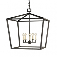 "Calder Lantern Large- Open Cage Form in Wrought Iron with Matte Black Textured FInish. 5 Light- ""A"" Base, 60W ea. Comes with 8' of Chain."