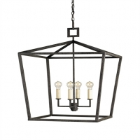 "Calder Lantern- Open Cage Form in Wrought Iron with Matte Black Textured Finish. 4 Light- ""A"" Base, 60W Comes with 8' of Chain"