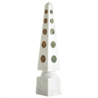 Classic White Marble Obelisk with Various Marble Circle Shaped Inlays