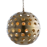 Aero Pendant is a Modern Antique Brass Sphere Hanging Light.  The Light Table 1 A Lamp (not included).   U.L. Listed